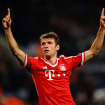MANCHESTER, ENGLAND - OCTOBER 02:  Thomas Muller of FC Bayern Munchen celebrates scoring the second goal during the UEFA Champions League Group D match between Manchester City and  FC Bayern Munchen at Etihad Stadium on October 2, 2013 in Manchester, England.  (Photo by Laurence Griffiths/Getty Images)